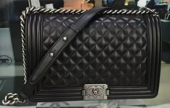 Boy Chanel Flap Bag Black Original Sheepskin Leather A67088 Silver