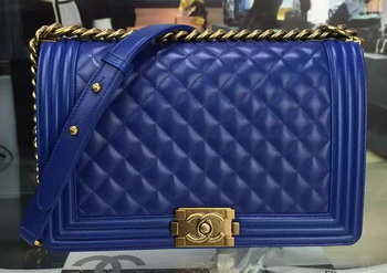 Boy Chanel Flap Bag Blue Original Sheepskin Leather A67088 Gold