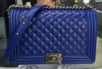 Boy Chanel Flap Bag Blue Original Sheepskin Leather A67088 Silver