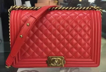 Boy Chanel Flap Bag Red Original Sheepskin Leather A67088 Gold