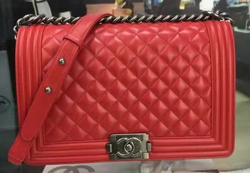 Boy Chanel Flap Bag Red Original Sheepskin Leather A67088 Silver