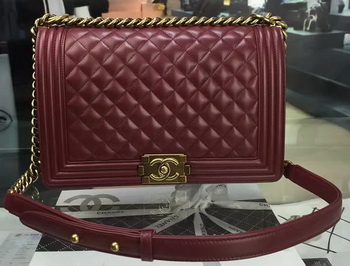 Boy Chanel Flap Bag Wine Original Sheepskin Leather A67088 Gold
