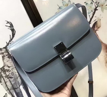 Celine Classic Box Flap Bag Smooth Leather C20447 SkyBlue