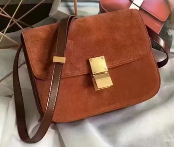 Celine Classic Box Flap Bag Suede Leather C20445 Brown