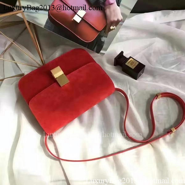 Celine Classic Box Flap Bag Suede Leather C20445 Red