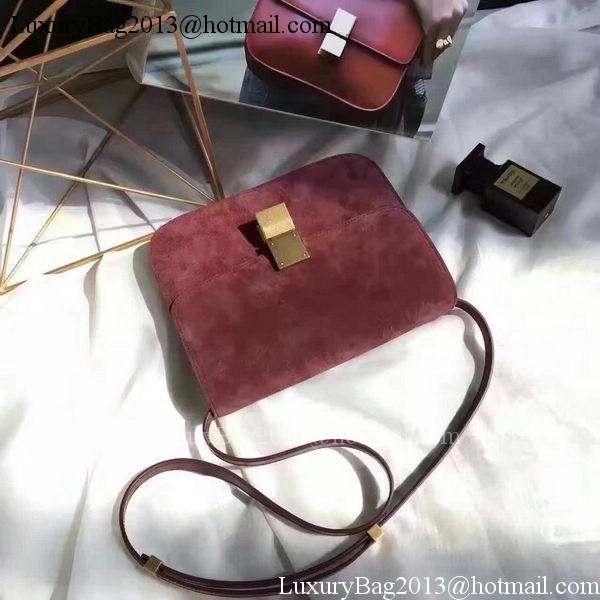 Celine Classic Box Flap Bag Suede Leather C20445 Wine