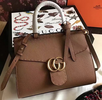 Gucci GG Marmont Leather Top Handle Bag 421890 Wheat