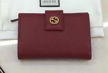 Gucci Calfskin Leagther Wallet 337023 Red
