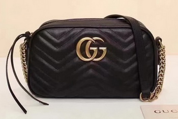 Gucci GG Marmont Matelasse Shoulder Bag 447632 Black