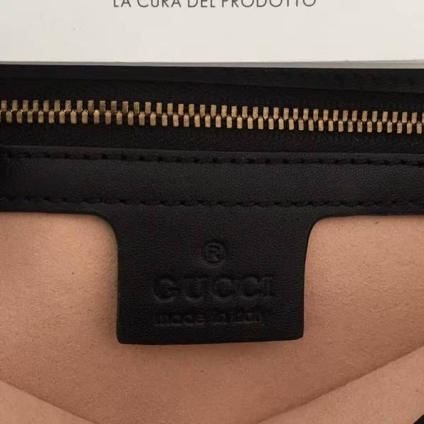 Gucci GG Marmont Sheenskin Shoulder Bag 443497A Black