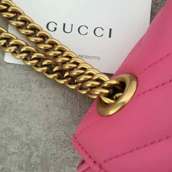Gucci GG Marmont Sheenskin Shoulder Bag 443497A Pink