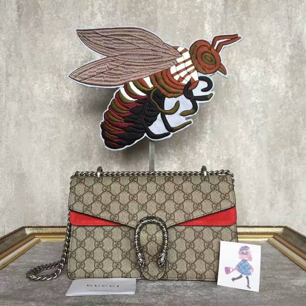 Gucci Medium Dionysus GG Canvas Shoulder Bag 400249 Red