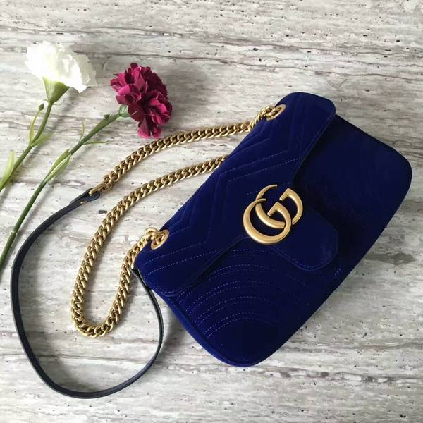 Gucci GG Marmont Suede Leather Medium Shoulder Bag 443497 Dark Blue
