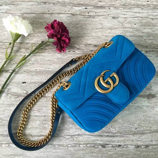 Gucci GG Marmont Suede Leather Mini Shoulder Bag 446744 Blue