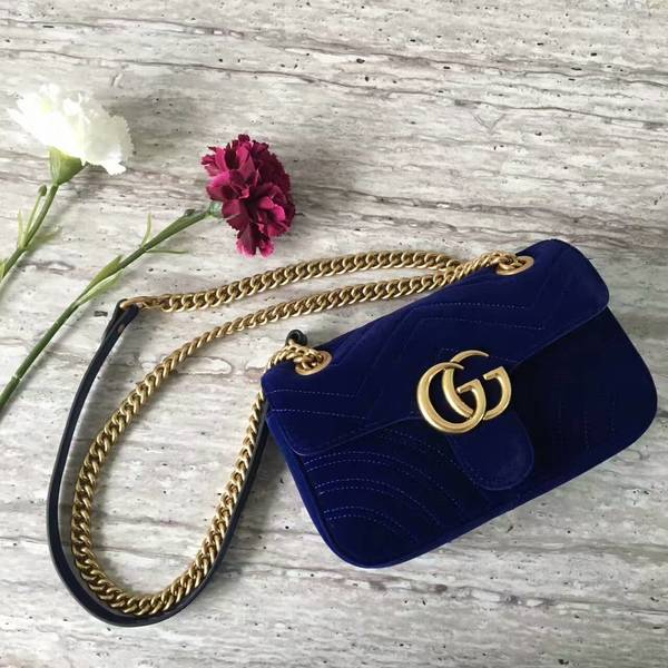 Gucci GG Marmont Suede Leather Mini Shoulder Bag 446744 Dark Blue