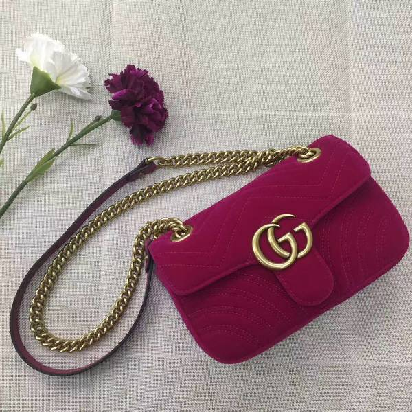 Gucci GG Marmont Suede Leather Mini Shoulder Bag 446744 Wine