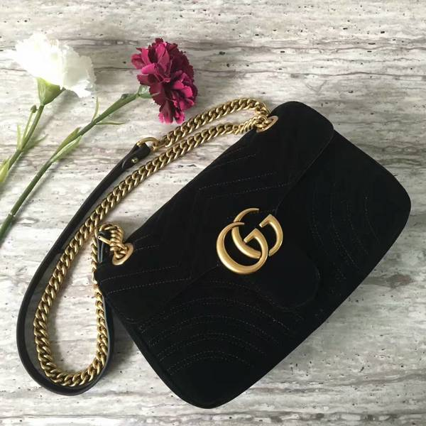 Gucci GG Marmont Suede Leather Medium Shoulder Bag 443497 Black