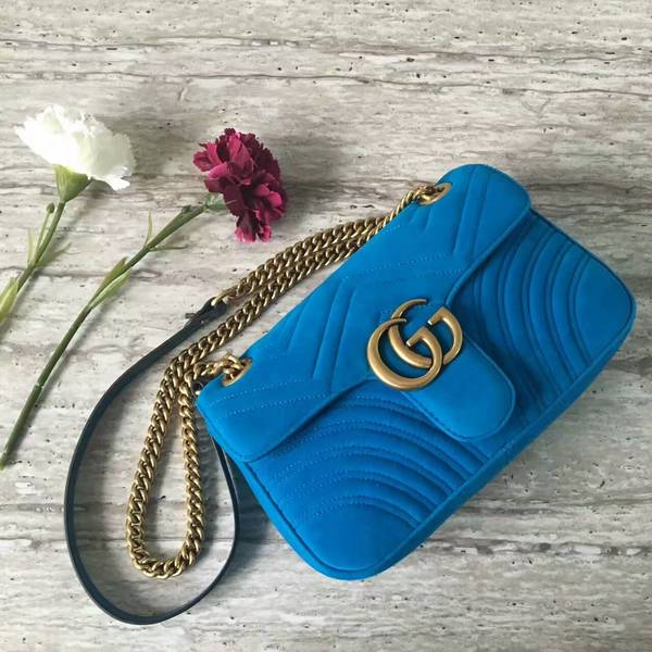 Gucci GG Marmont Suede Leather Medium Shoulder Bag 443497 Blue