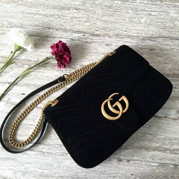 Gucci GG Suede Leather Shoulder Bag 443496 Black