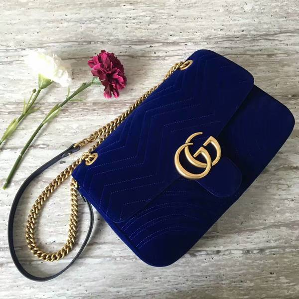 Gucci GG Suede Leather Shoulder Bag 443496 Dark Blue
