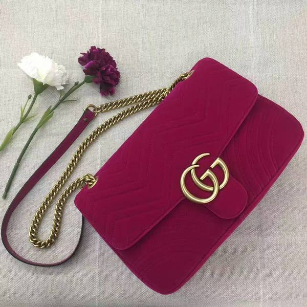 Gucci GG Suede Leather Shoulder Bag 443496 Wine
