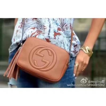 Gucci Soho Metallic Leather Disco Bag 308364 Brown