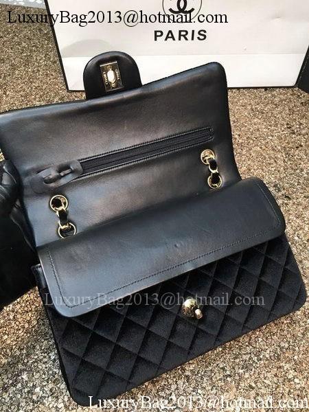Chanel 2.55 Series Flap Bags Original Black Velvet Leather A1112 Gold