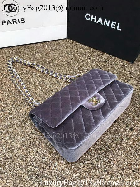 Chanel 2.55 Series Flap Bags Original Grey Velvet Leather A1112 Gold