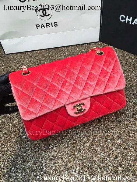 Chanel 2.55 Series Flap Bags Original Orange Velvet Leather A1112 Gold