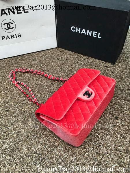 Chanel 2.55 Series Flap Bags Original Orange Velvet Leather A1112 Silver