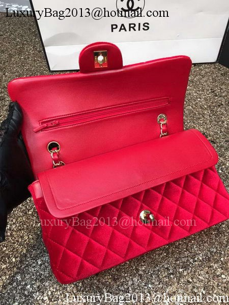 Chanel 2.55 Series Flap Bags Original Red Velvet Leather A1112 Gold