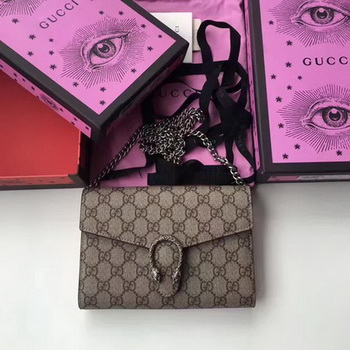 Gucci Dionysus GG Supreme Shoulder Bag 401231 Apricot
