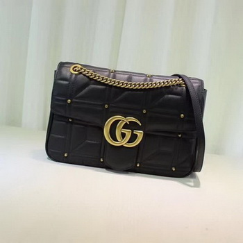 Gucci GG Marmont Mmatelasse Shoulder Bag 443496 Black