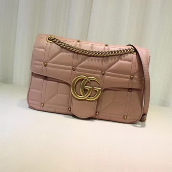 Gucci GG Marmont Mmatelasse Shoulder Bag 443496 Pink