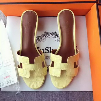 Hermes Leather Slipper HO742 Yellow