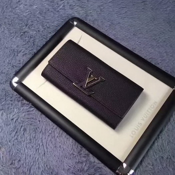 Louis Vuitton Calfskin Leather CAPUCINES WALLET M61249 Black