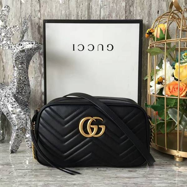 Gucci GG Marmont Matelasse Shoulder Bag 447632A Black