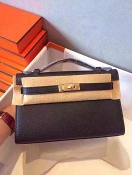 Hermes Kelly 22cm Tote Bag Original Leather KL22 Black