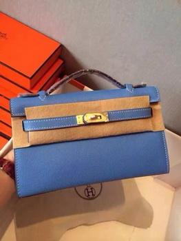 Hermes Kelly 22cm Tote Bag Original Leather KL22 Blue