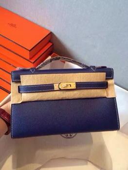 Hermes Kelly 22cm Tote Bag Original Leather KL22 Royal