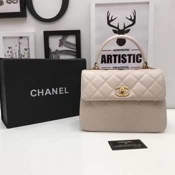 Chanel Classic Top Handle Bag Apricot Sheepskin Leather A92991 Gold