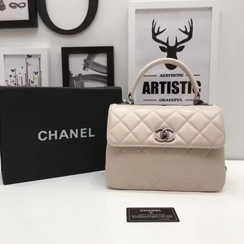 Chanel Classic Top Handle Bag Apricot Sheepskin Leather A92991 Silver