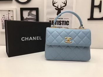Chanel Classic Top Handle Bag Blue Sheepskin Leather A92991 Gold