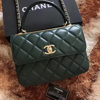 Chanel Classic Top Handle Bag Green Sheepskin Leather A92991 Gold