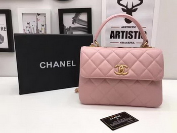 Chanel Classic Top Handle Bag Pink Sheepskin Leather A92991 Gold