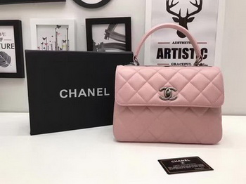 Chanel Classic Top Handle Bag Pink Sheepskin Leather A92991 Silver