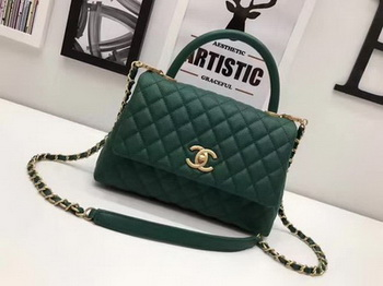 Chanel Classic Top Handle Bag Sheepskin Leather A92991 Green