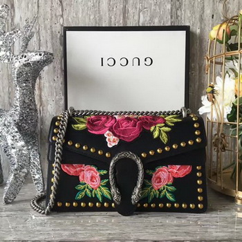 Gucci Dionysus Embroidered Leather Shoulder Bag 400249 Black Rose
