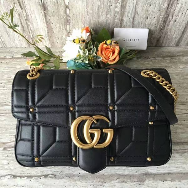 Gucci Now Marmont Mmatelasse Shoulder Bag 443496 Black