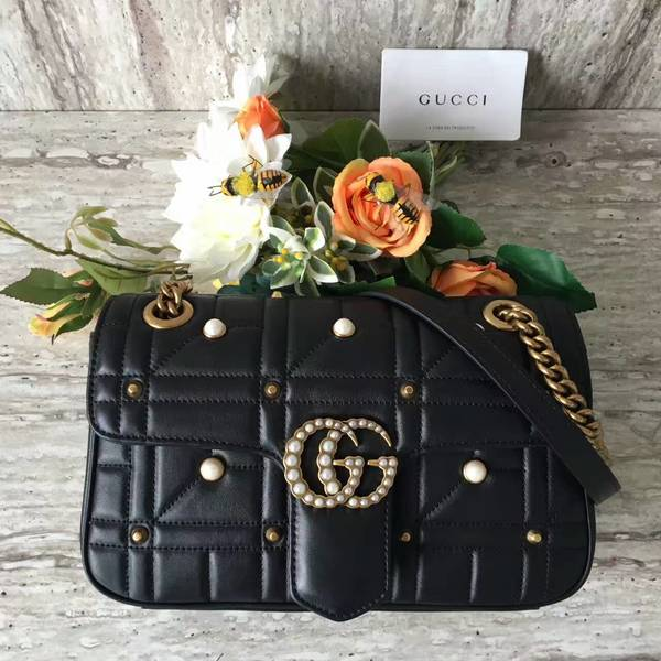 Gucci Now Marmont Mmatelasse Shoulder Bag 443497 Black